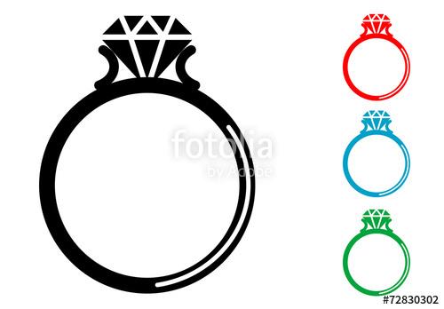 500x348 Pictograma Anillo Con Diamante Con Varios Colores Stock Image And