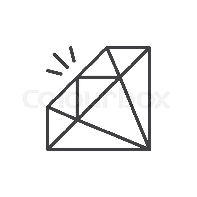 800x800 Gemstone, Diamond Line Icon, Outline Vector Sign, Linear Style