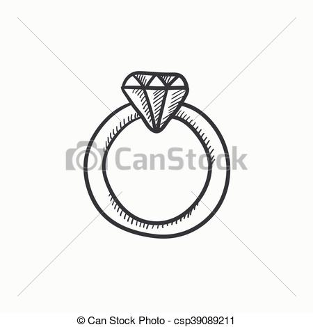 450x470 Diamond Ring Sketch Icon. Diamond Ring Vector Sketch Icon Isolated