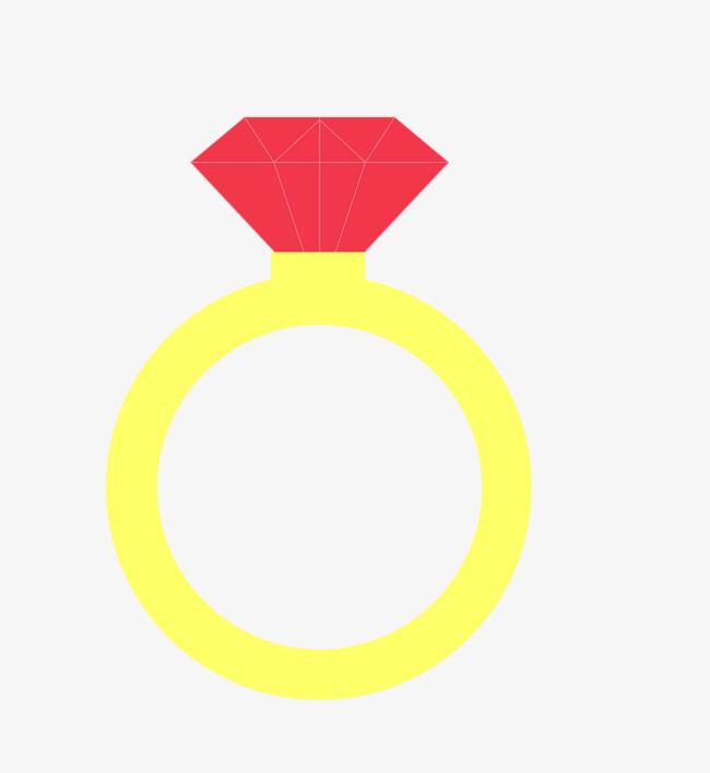650x707 Vector Yellow Red Cartoon Diamond Ring, Vector Diamond Ring