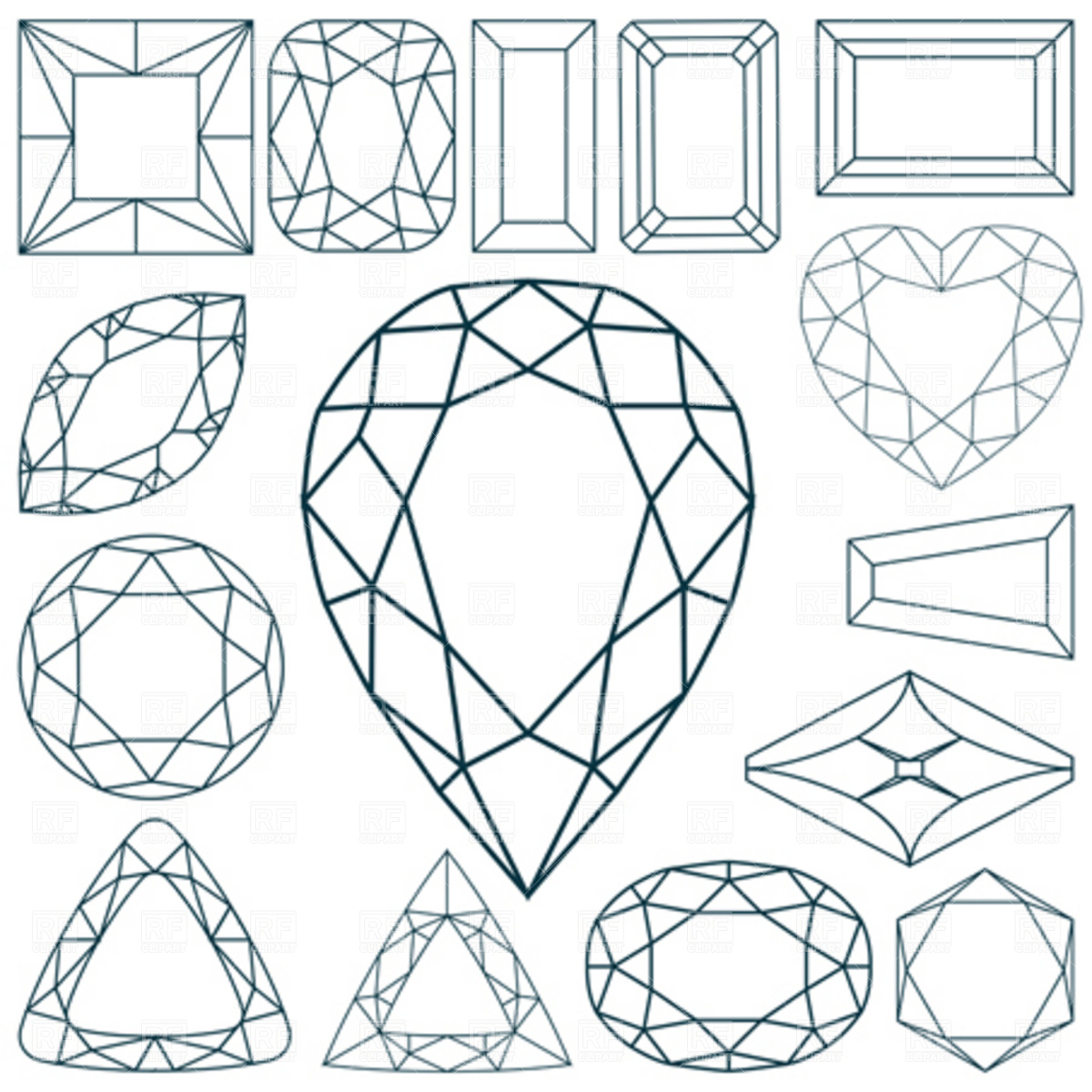 1200x1200 Diamond Shapes And Facet Styles Collection Vector Image Vector