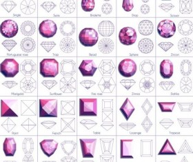 280x235 Diamond Shapes With Outlines Vector Set 05 Free Download