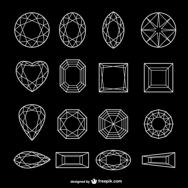 626x626 All Kinds Of Diamond Line Art Vector Vector Free Download