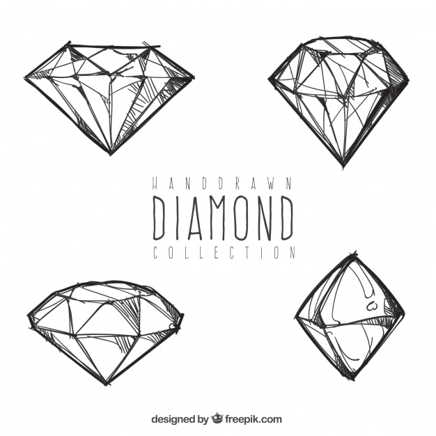 626x626 Four Hand Drawn Diamonds Vector Free Download