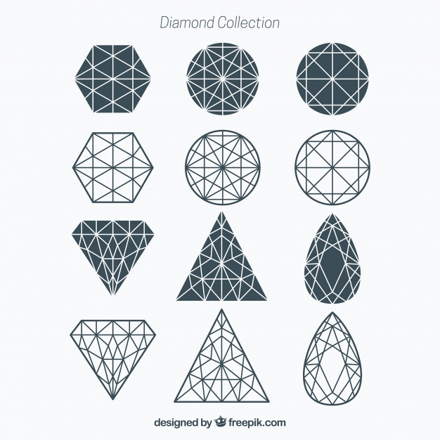 626x626 Geometric Diamond Collection Vector Free Download
