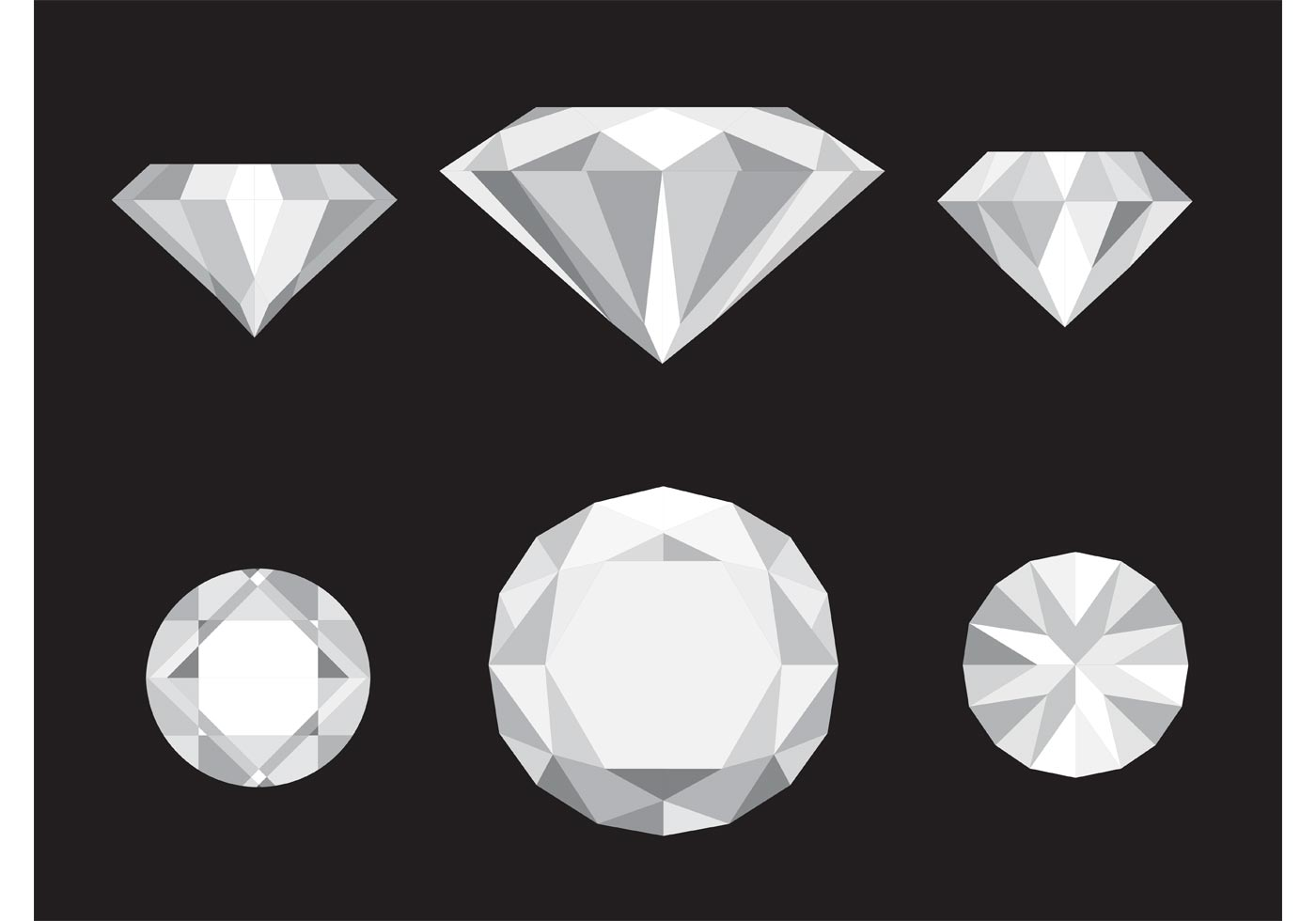 1400x980 Vector Diamond Icons