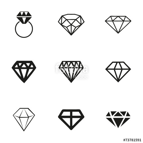 500x500 Vector Diamond Icons Set Stock Image And Royalty Free Vector