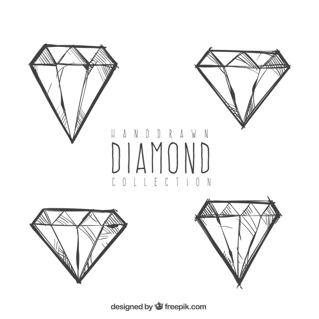 626x626 Ai] Set Of Hand Drawn Diamonds Vector Free Download