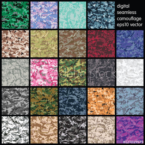 500x500 Set Of Seamless Digital Camouflage Pattern Vector