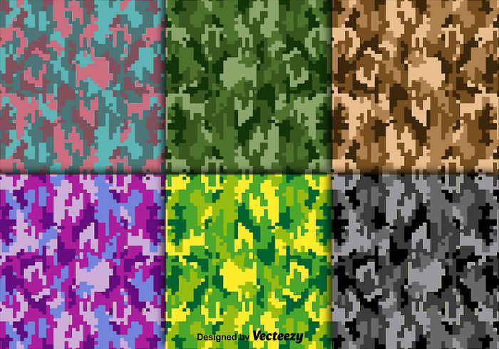 700x490 Bright Vector Digital Camouflage Texture Set Free Vectors Ui