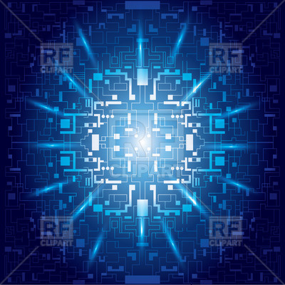 400x400 Abstract Blue Background With Symbolic Digital Matrix Vector Image