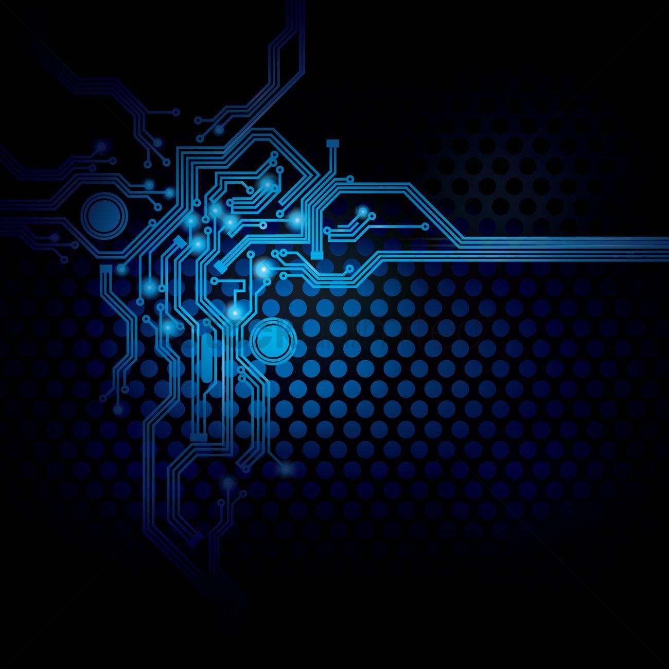 1300x1300 Circuit Design On Digital Background Vector Image