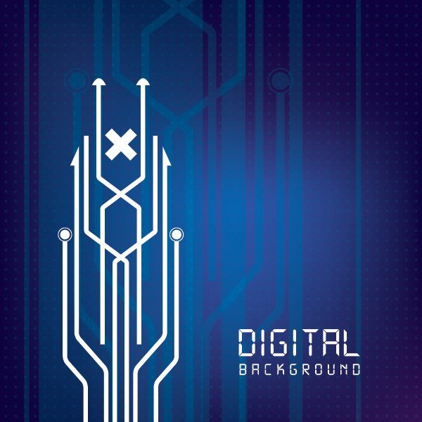 600x600 Digital Circuit Lines Background