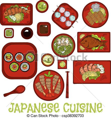 443x470 Japanese Seafood Dinner With Dessert Sketch Icon. Japanese Sushi