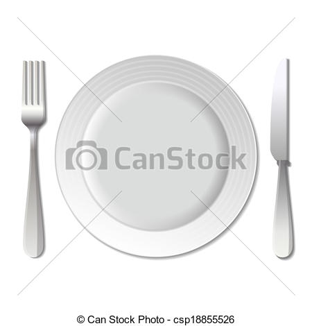450x470 Dinner Plate, Knife And Fork. Vector. Dinner Plate, Knife And Fork