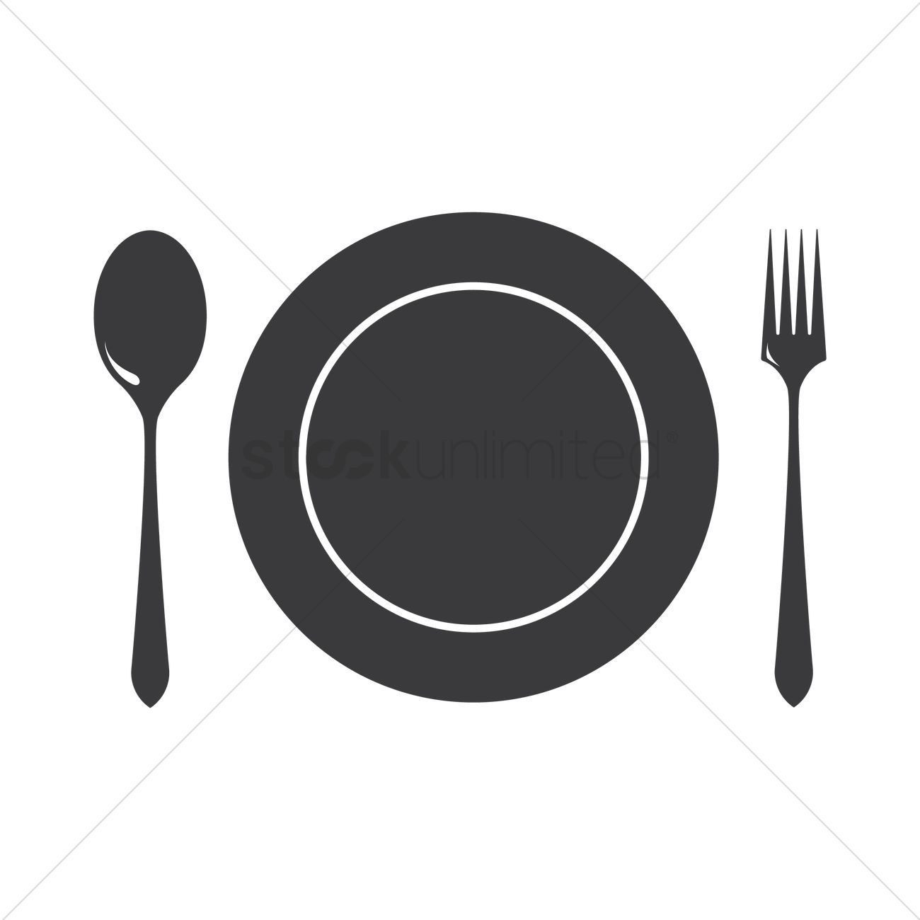 1300x1300 Dinner Plate With Cutlery Vector Image