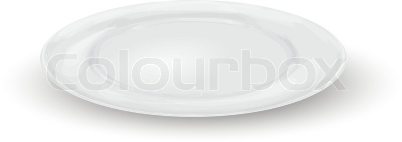 800x283 Empty White Realistic Dinner Plate Isolated On White Background