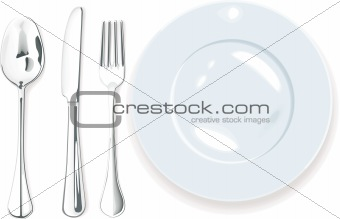 340x219 Image 1491655 Vector. Dinner Plate, Spoon Fork And Knife From