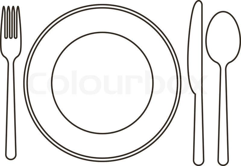 800x551 Late, Knife, Spoon And Fork Stock Vector Colourbox