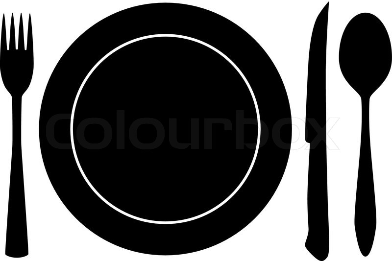 800x533 Plateful, Fork And Spoon Silhouette Vector Stock Vector Colourbox