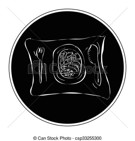 450x470 Simple Doodle Of A Dinner Plate. Simple Hand Drawn Doodle Of