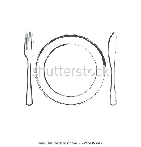 450x470 Plate And Fork Knife Plate And Fork Cutlery Vector Retro