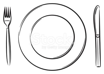 416x299 Dinner Plate, Knife And Fork Stock Vectors