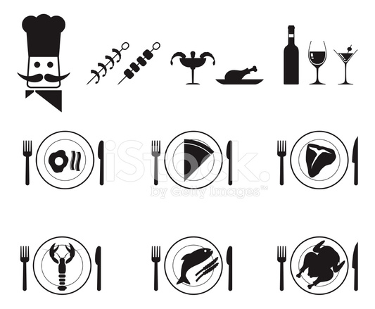533x439 Dinner Plate Food And Chef Vector Icon Set In Black Stock Vector
