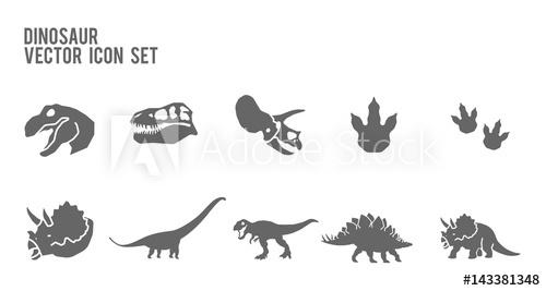 500x267 Dinosaur Skeleton Fossil Vector Icon Set