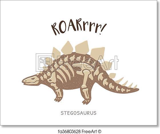 560x470 Free Art Print Of Cartoon Stegosaurus Dinosaur Fossil. Vector