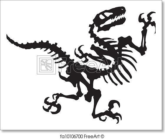 560x470 Free Art Print Of Vector Raptor Dinosaur Fossil. Vector Silhouette