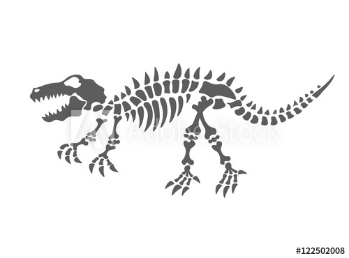 500x370 Dinosaur Skeleton Vector Illustration. The Fossil Of The Dinosaur