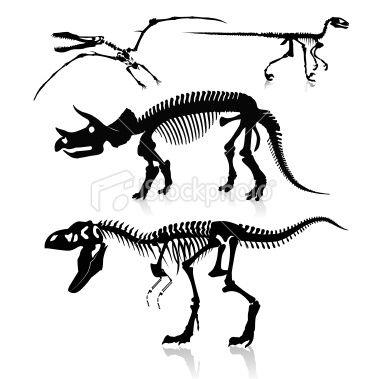 380x379 Detailed Dinosaur Skeleton Silhouettes. Tattoos