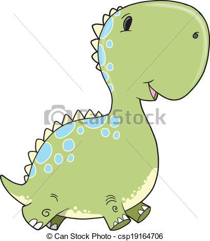 410x470 Cute Baby Dinosaur Vector Art. Cute Baby Dinosaur Vector