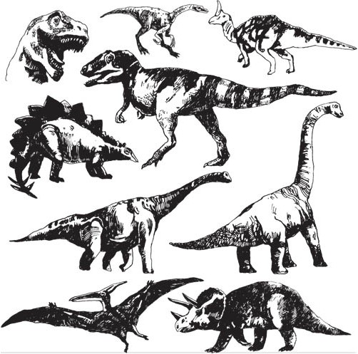 502x497 Dinosaurs Vector Graphic Ai Format Free Vector Download