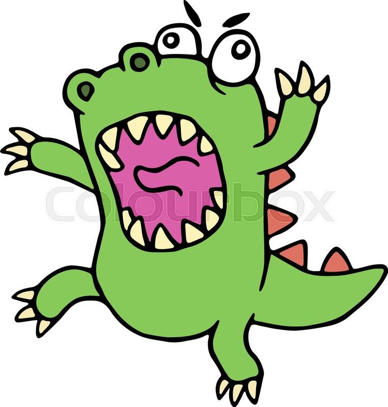 762x800 Mad Cartoon Dinosaur. Vector Illustration. Cute Imaginary Animal