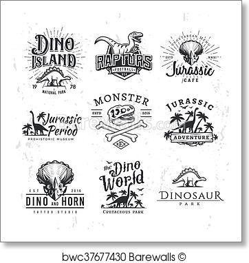 362x382 Art Print Of Big Dinosaur Vector Logo Set. Triceratops T Shirt
