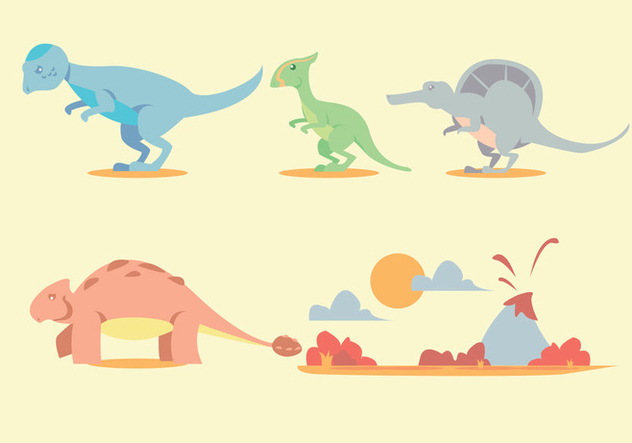 632x443 Dinosaur Vector Set Free Vector Download 329471 Cannypic