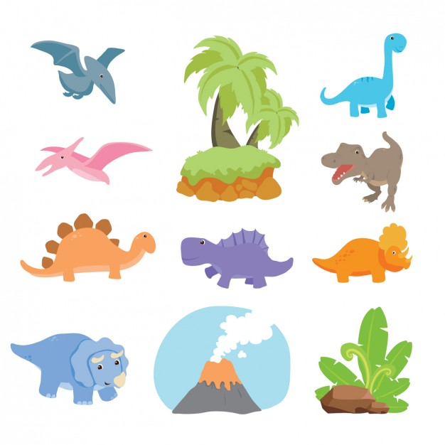 626x626 Dinosaurs Collection Design Vector Free Download