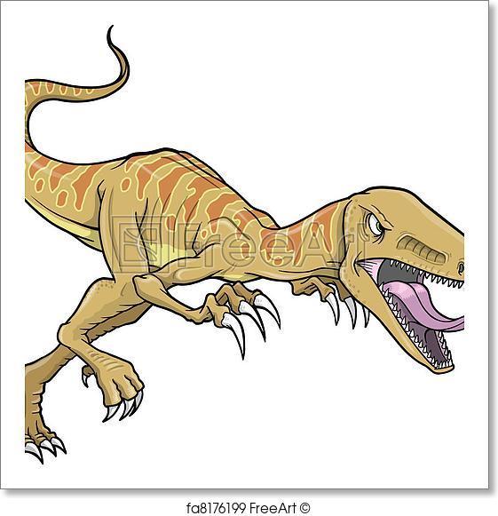 561x581 Free Art Print Of Raptor Dinosaur Vector Illustration. Raptor