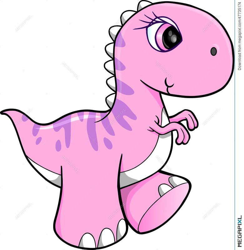 781x800 Cute Pink Dinosaur Vector Illustration 47735174