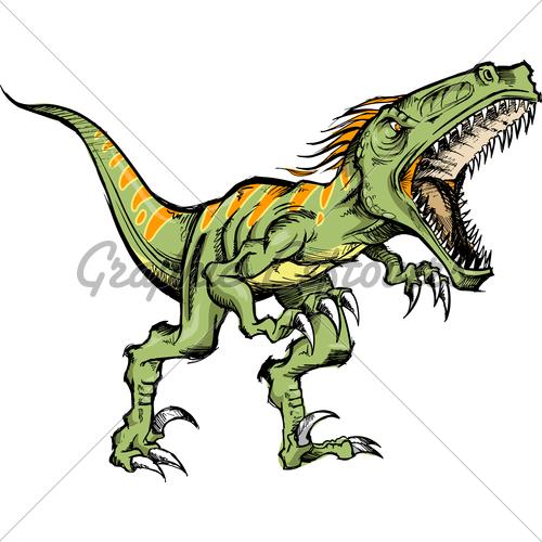 500x500 Color Sketch Raptor Dinosaur Vector Illustration Gl Stock Images