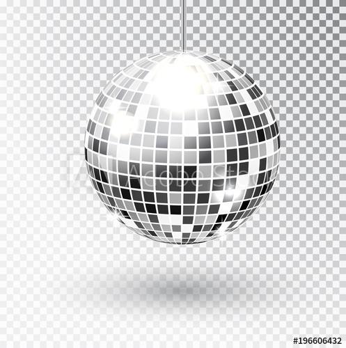497x500 Mirror Glitter Disco Ball Vector Illustration. Night Club Party