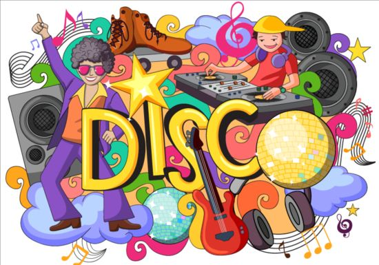 550x385 Disco Doodle Vector Illustration Free Download