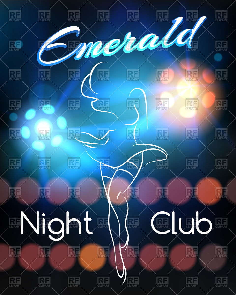 960x1200 Night Club Poster With Dancing Woman Outline And Disco Ball Vector