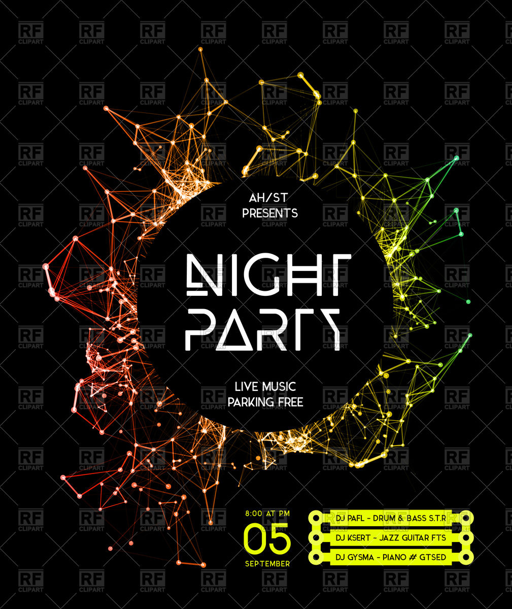 1009x1200 Night Disco Party Poster Background Vector Image Vector Artwork