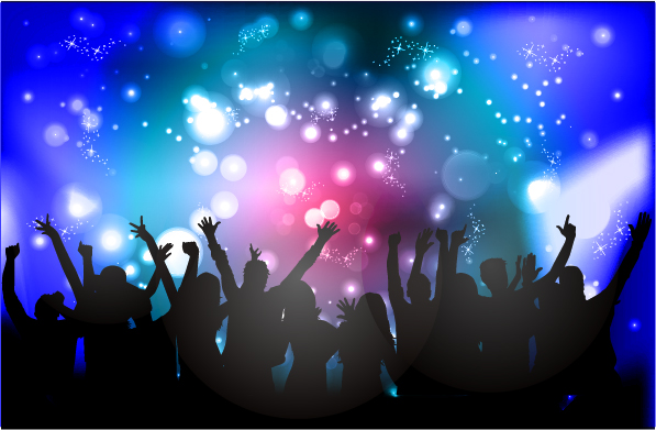 597x391 People Silhouette With Disco Party Poster Vector 01 Free Download