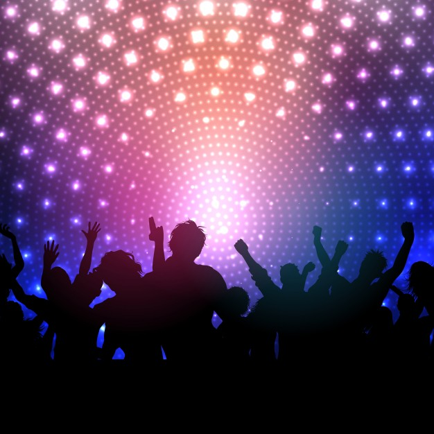 626x626 Silhouette Of A Party Crowd In A Disco Vector Free Download
