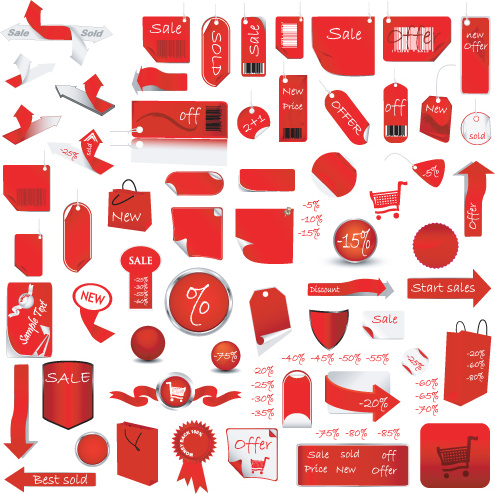495x494 Red Tags Stickers Discount Vector Set Free Vector In Encapsulated