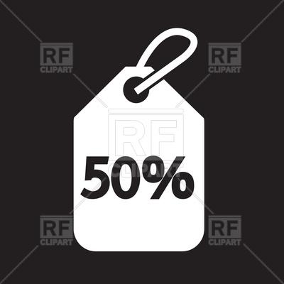 400x400 50% Sale Price Tag On Black Background